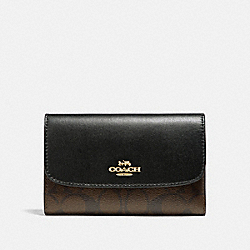 COACH F32485 Medium Envelope Wallet In Signature Canvas BROWN/BLACK/LIGHT GOLD