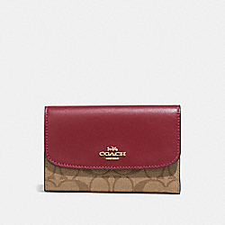 COACH F32485 Medium Envelope Wallet In Signature Canvas KHAKI/CHERRY/LIGHT GOLD