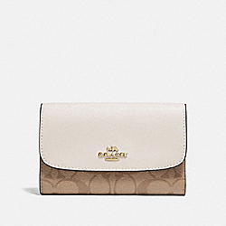 COACH F32485 Medium Envelope Wallet In Signature Canvas KHAKI/CHALK/GOLD