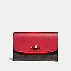 COACH F32485 Medium Envelope Wallet In Signature Canvas BROWN/TRUE RED/LIGHT GOLD