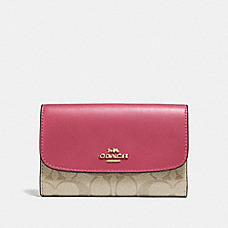 COACH F32485 Medium Envelope Wallet In Signature Canvas LIGHT KHAKI/ROUGE/GOLD