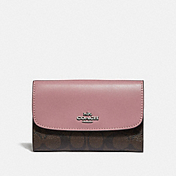 COACH F32485 Medium Envelope Wallet In Signature Canvas BROWN/DUSTY ROSE/SILVER