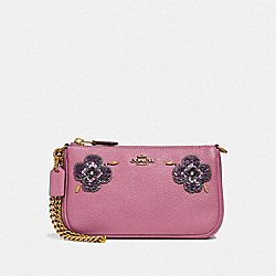 NOLITA WRISTLET 19 WITH LEATHER SEQUIN APPLIQUE - F32487 - ROSE/BRASS