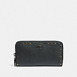 ACCORDION ZIP WALLET WITH RAINBOW RIVETS - F32498 - BLACK/DARK GUNMETAL