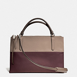 BOROUGH BAG IN RETRO COLORBLOCK LEATHER - f32502 -  ANTIQUE NICKEL/OXBLOOD/OLIGHT GOLDVE GREY