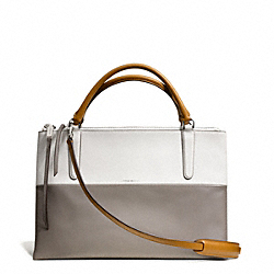 COACH F32502 The Retro Colorblock Leather Borough Bag UE/TAN WHITE/WARM GREY