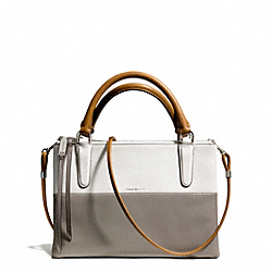 COACH F32503 The Retro Colorblock Leather Mini Borough Bag UE/TAN WHITE/WARM GREY
