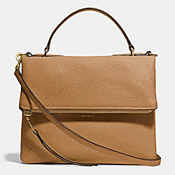 URBANE SHOULDER BAG 2 IN PEBBLED LEATHER - f32504 - GOLD/CAMEL