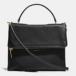 URBANE SHOULDER BAG 2 IN PEBBLED LEATHER - f32504 - LIGHT GOLD/BLACK