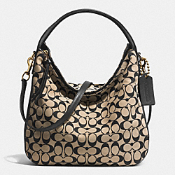 BLLECKER SULLIVAN HOBO IN PRINTED SIGNATURE - f32561 - GOLD/LIGHT KHAKI/BLACK