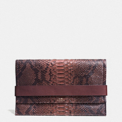 COACH BLEECKER PYTHON EMBOSSED LEATHER CLUTCH - ANTIQUE NICKEL/BRICK - F32641