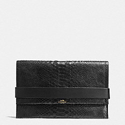 BLEECKER CLUTCH IN PYTHON EMBOSSED LEATHER - f32641 -  GOLD/BLACK