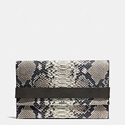 BLEECKER CLUTCH IN PYTHON EMBOSSED LEATHER - f32641 -  ANTIQUE NICKEL/GREY