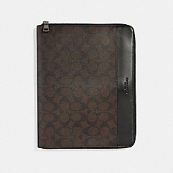 COACH F32654 - TECH CASE IN SIGNATURE CANVAS MAHOGANY/BLACK/BLACK ANTIQUE NICKEL