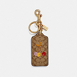 COACH F32676 - CHERRY HANGTAG IN SIGNATURE CANVAS LIGHT KHAKI/GOLD