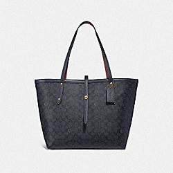 COACH F32714 - MARKET TOTE IN SIGNATURE CANVAS GD/CHARCOAL MIDNIGHT NAVY