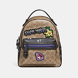 DISNEY X COACH CAMPUS BACKPACK 23 IN SIGNATURE PATCHWORK - F32717 - TAN/BLACK MULTI/BLACK COPPER