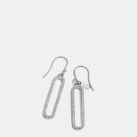 COACH PAVE ID EARRING - SILVER/CLEAR - f32741