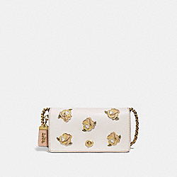 COACH F32874 Dinky With Rose Applique CHALK/BRASS