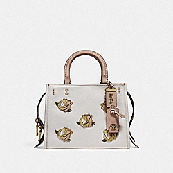 COACH F32876 Rogue 25 With Rose Applique B4/CHALK