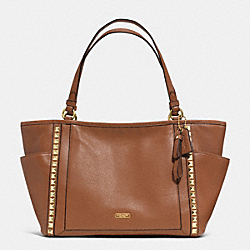 COACH F32897 - PARK LEATHER PYRAMID STUD CARRIE TOTE BRASS/SADDLE