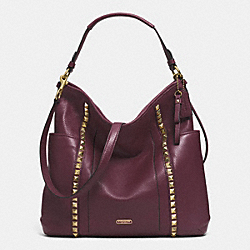 PARK LEATHER PYRAMID STUD HOBO - f32898 - BRASS/SHERRY