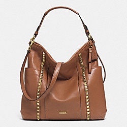 PARK LEATHER PYRAMID STUD HOBO - f32898 - BRASS/SADDLE