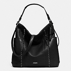 PARK LEATHER PYRAMID STUD HOBO - f32898 - GUNMETAL/BLACK