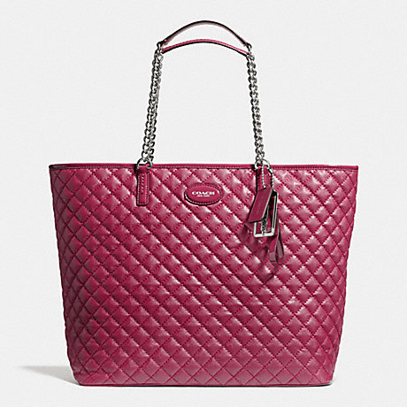 Coach F32905 Metro Quilted Chain Tote Silver Claret