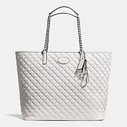 COACH F32905 - METRO QUILTED CHAIN TOTE SILVER/IVORY