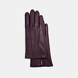 SCULPTED SIGNATURE LEATHER GLOVES - F32956 - OXBLOOD