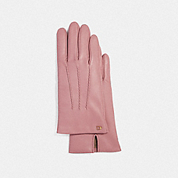 SCULPTED SIGNATURE LEATHER GLOVES - F32956 - ROSE