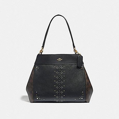 COACH LEXY SHOULDER BAG IN SIGNATURE CANVAS WITH RIVETS - BROWN BLACK MULTI  LIGHT c43d6439ee74d