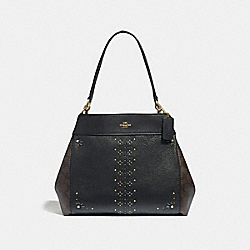 LEXY SHOULDER BAG IN SIGNATURE CANVAS WITH RIVETS - F32977 - BROWN BLACK/MULTI/LIGHT GOLD