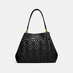 LEXY SHOULDER BAG WITH QUILTING - F32978 - BLACK/LIGHT GOLD