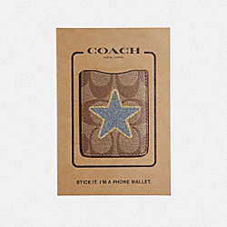 COACH F33038 Pocket Sticker In Signature Canvas With Star KHAKI MULTI