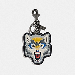 COACH F33088 Wolf Motif Bag Charm BLACK MULTI/BLACK ANTIQUE NICKEL