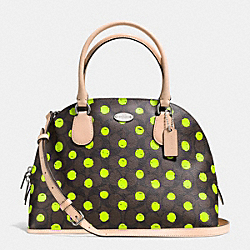 COACH F33260 - CORA DOMED SATCHEL IN DOT PRINT CROSSGRAIN LEATHER SILVER/BROWN/NEON YELLOW