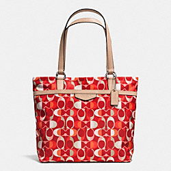 COACH F33295 Signature Stripe Multi Dream C Tote SILVER/VERMILLION MULIGHTICOLOR