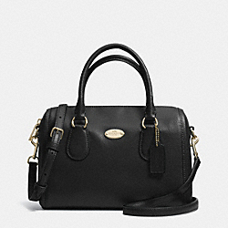 COACH F33329 Crossgrain Leather Mini Bennett Satchel LIGHT GOLD/BLACK