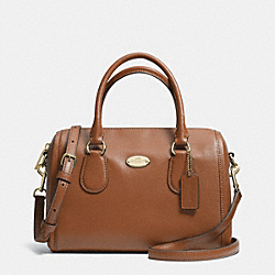 COACH F33329 Mini Bennett Satchel In Crossgrain Leather LIGHT GOLD/SADDLE