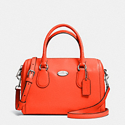 COACH F33329 Crossgrain Leather Mini Bennett Satchel SILVER/CORAL