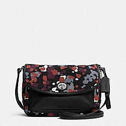 COACH F33333 Park Splatter Print Violet Flap Crossbody SILVER/MULTICOLOR