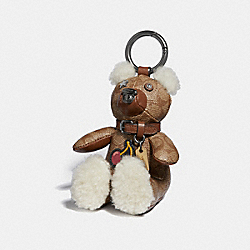 COACH F33358 Bear Bag Charm KHAKI/BLACK