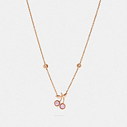 COACH CHERRY PENDANT NECKLACE - PINK/ROSEGOLD - F33363