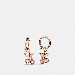 COACH F33367 Cherry Huggie Earrings ROSEGOLD/PINK