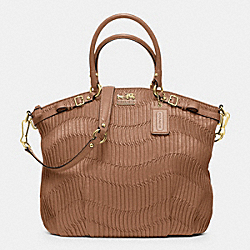 COACH F33371 Madison Gathered Leather Lindsey North/south Satchel BRASS/CAMEL