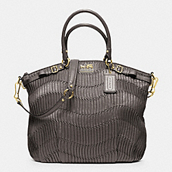 COACH F33371 - MADISON GATHERED LEATHER LINDSEY NORTH/SOUTH SATCHEL BRASS/GRAY
