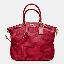 COACH F33371 - MADISON GATHERED LEATHER LINDSEY NORTH/SOUTH SATCHEL BRASS/CORAL RED