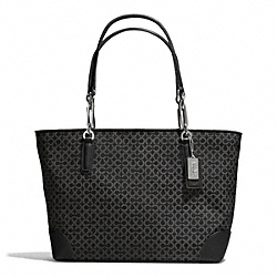 COACH F33372 Madison Op Art Needlepoint East/west Tote SILVER/BLACK